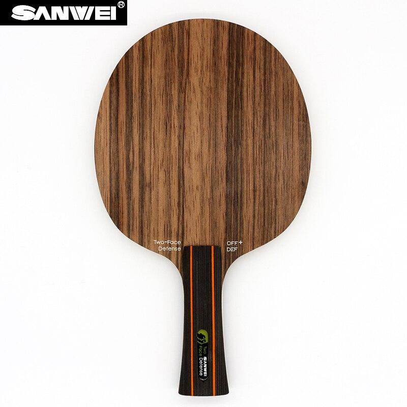Sanwei DEUX FACES (2, Attaque et Défense, Ébène et Hinoki Surface) lame de Ping-Pong Défense Raquette de Ping-Pong de Pagaie