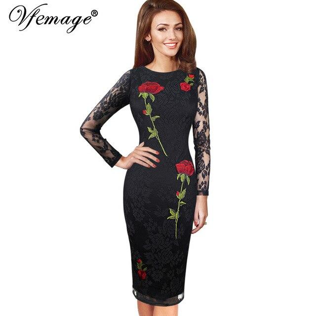Vfemage женские элегантные сексуальная вышитые цветочные кружева see through партии специальным событием карандаш оболочка вышивка dress 4401