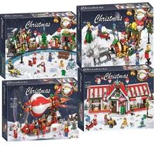 New The Christmas Winter Holiday Train Series Set Children Educational Building Blocks Bricks Toys Legoinglys Friends Gift