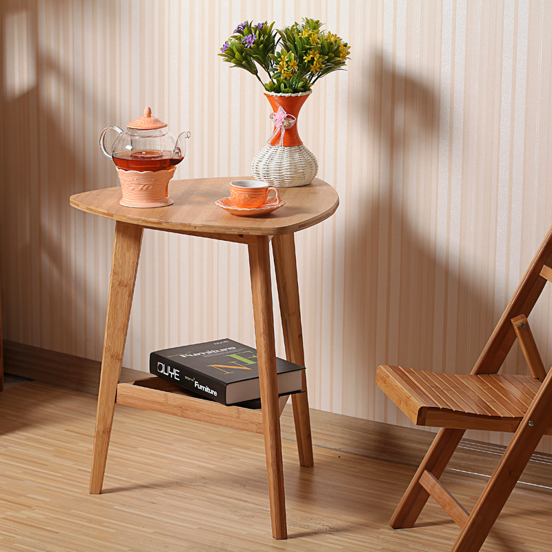 Selling Bamboo Flower Wood Simple Desk Computer Desk, Small Tea Table Outdoor Leisure Corner Table Furniture Office Table