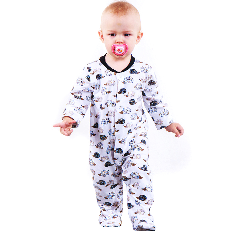 c2a121090cbb Floral Pig Baby Rompers Spring Autumn Newborn Toddler Baby Boy Girl Long  Sleeve Romper Jumpsuit Cute Hedgehog Print Baby Clothes