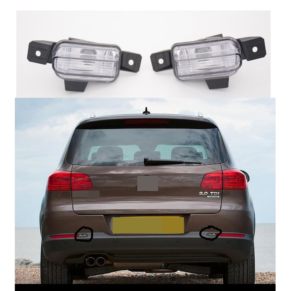 1Pair White Rear Bumper Light Tail Fog Lamp With Bulbs Right & Left Side For Volkswagen VW Tiguan 2012-2014 1 pcs left right fog lamp with bulbs front bumper driving fog light for suzuki alto 2009 2017