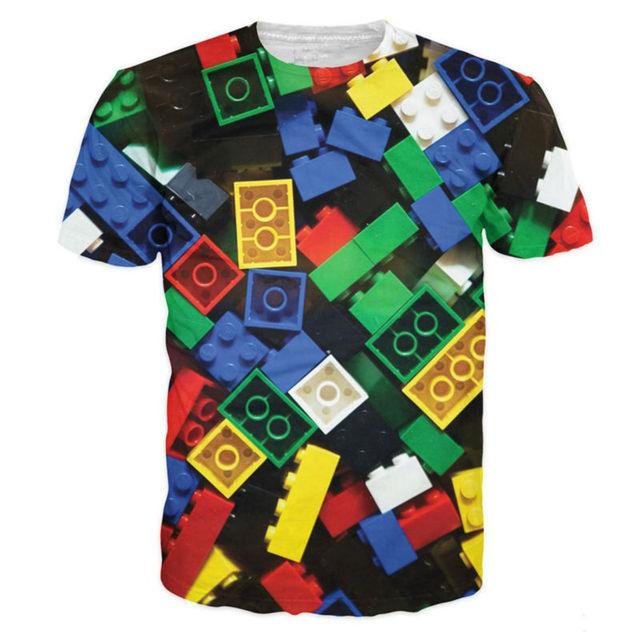 d5ef40059 Camisetas estampadas en 3D informales Lego ladrillos camiseta hombres Super  Popular niños juguete gráfico Camisetas Unisex