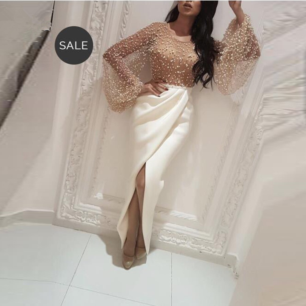 Muslim Evening Dresses 2019 Sheath Long Sleeves Pearls Slit Sexy Islamic Dubai Saudi Arabic Long Elegant Evening Gown Prom