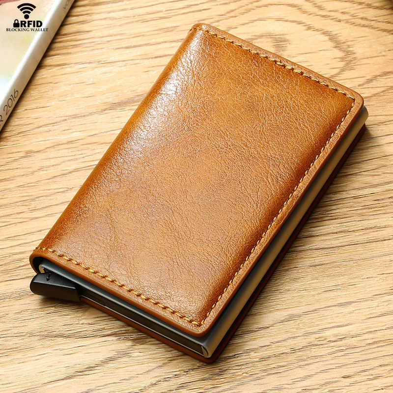 VM FASHION KISS men Cardholder Mini RFID Blocking Wallet Automatic Credit Card Business Card Holder Wallet Hold 7 Cards purse