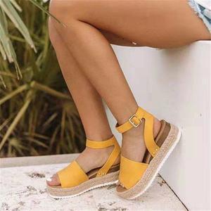 Image 2 - Plus Größe 2019 Keile Frauen Sandalen Sommer Keil Heels Schuhe Plattform Wohnungen Schuhe frauen Casual Sandalen Zapatos De Mujer
