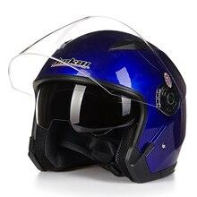 Motorcycle Dual lens 3/4 Helmet scooter Open Face Capacete Para vintage