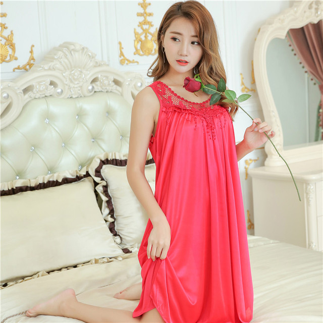 Latest Women loose Siamese Skirt Ice silk Nightdress Comfortable Sleeveless  Indoor Clothing Home Suit sexy hollow 8f4fa726b