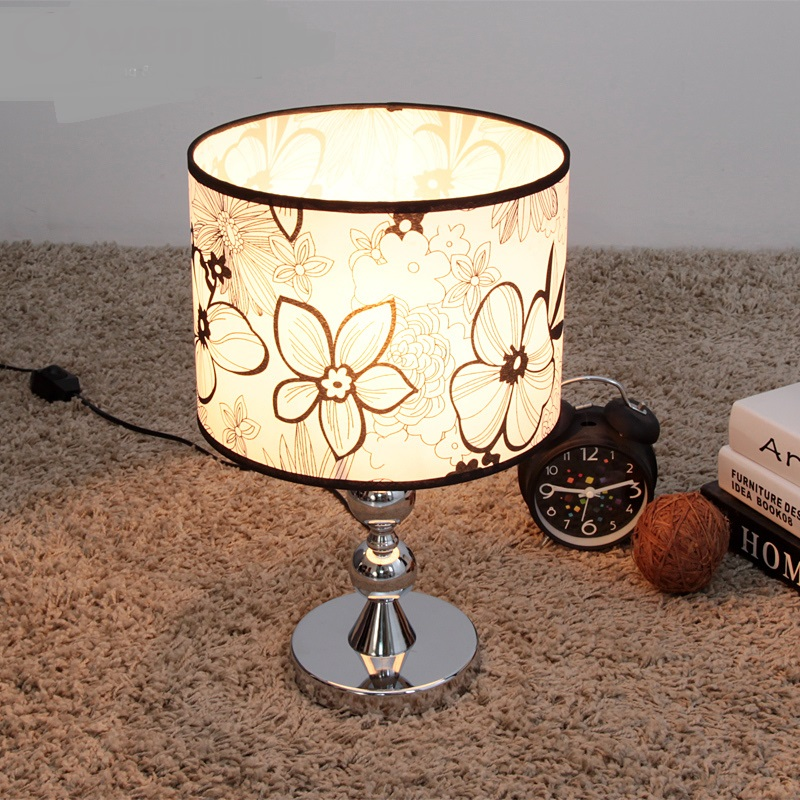 simple table lamps lighting lamp / bedside lamp / Fabric bedroom lamp touch switch Black pattern Table lights zzp