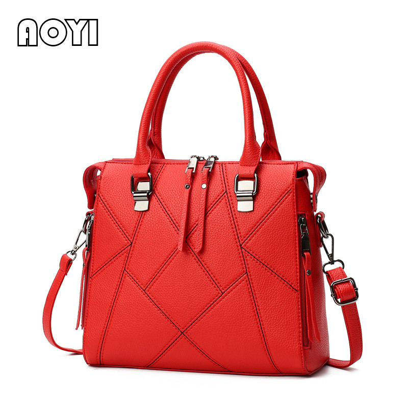 AOYI Women Bag PU Leather Handbag Ladies Large Shoulder Crossbody Bags Messenger Bag Network Casual Tote Evening Women Bags women handbag shoulder bag messenger bag casual colorful canvas crossbody bags for girl student waterproof nylon laptop tote