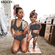 Mom and Daughter Swimsuit Summer Classic Plaid Bowknots Bikini Set Beach Bathing Suit Mother swimwear Clothes E0183
