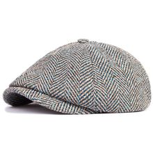 Hat for man fashion spring and autumn winter octagonal cap Men british style hat check casual wide brim cap male