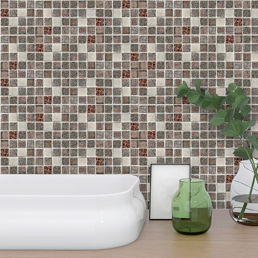 Creative Mosaic 3D Wall Sticker Self Adhesive Waterproof Wallpaper for Kitchen Bathroom Home Decor Removable DIY Vinyl Art Decal in Wall Stickers from Home Garden