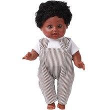 35CM African Black Doll Handmade Silicone Vinyl Adorable Lifelike Toddler Reborn Baby Doll Kids Toys Gifts Boy Girl