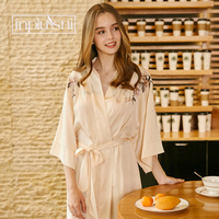 Inplusni women gown Peony embroidery sexy nightgown catwalk female summer bride morning gown Japanese kimono bathrobe nightgown