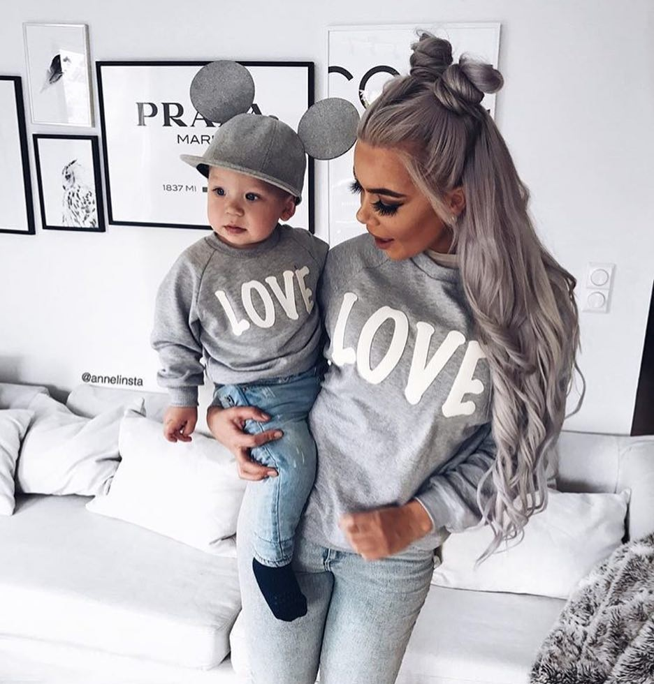 Family Look LOVE Sweatshirts Mother Daughter Mommy And Me Clothes Mom Mum And Daughter/son Matching Outfits Long Sleeve Dresses