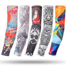 MinanSer 100pcs Ice silk sunscreen outdoor riding flower tattoo men women arm sleeves