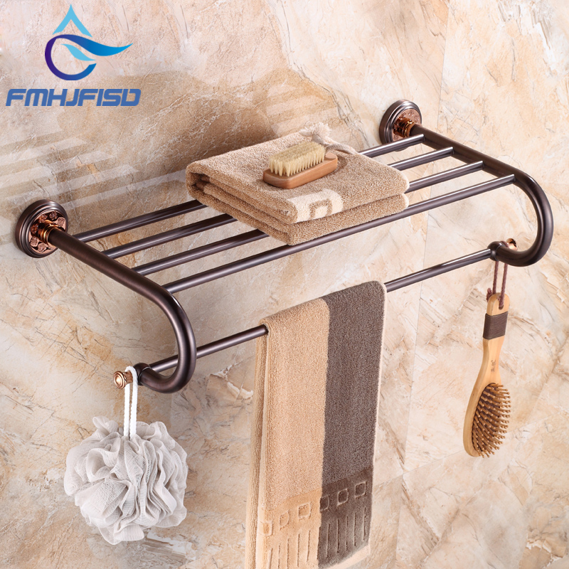 Promotion Oil Rubbed Bronze Towel Shelf with Single Towel Bar Wall Mounted Bathroom Accessories ceramic oil rubbed bronze crystal hanger towel rack holder single towel bar new