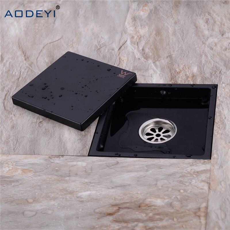 купить AODEYI New Stainless Steel Shower Drain Black Bathroom Floor Drain Tile Insert Square Anti-odor Floor Waste Grates 150X150 по цене 1317.79 рублей