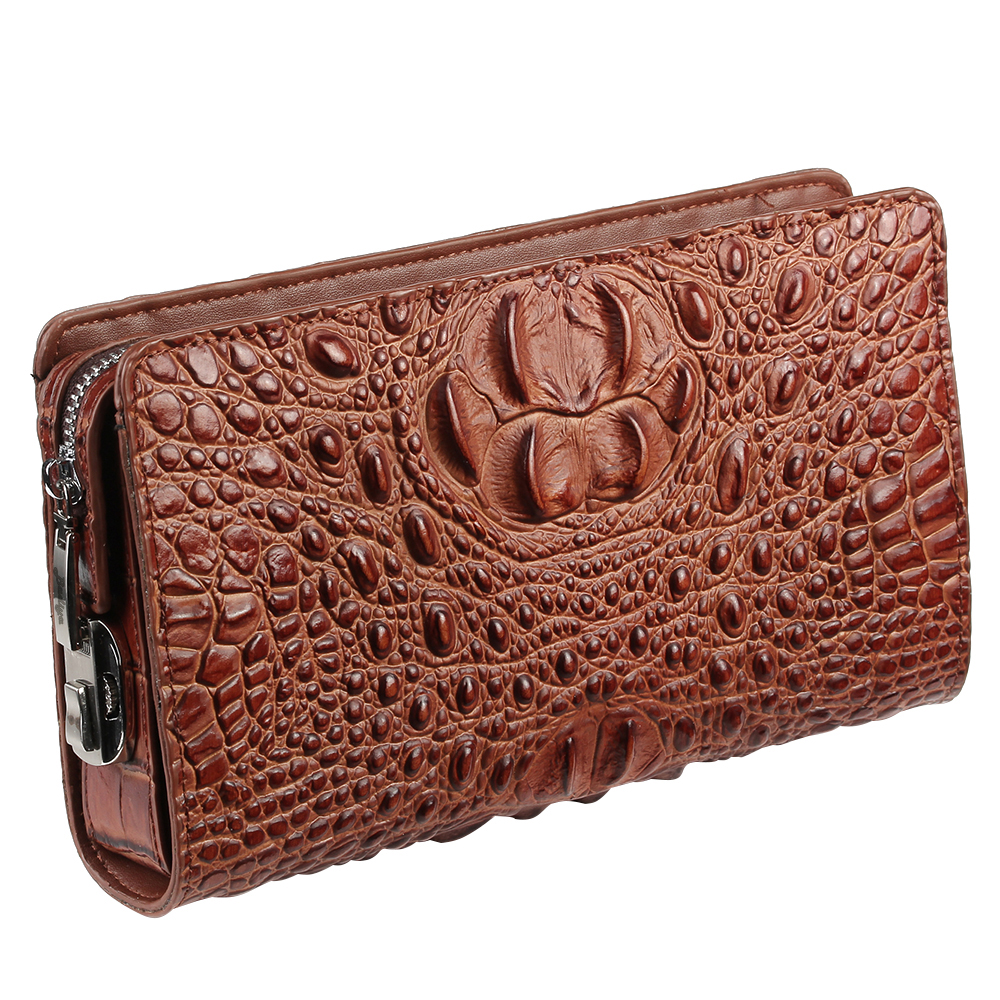 купить Classic Crocodile Wallets for Men Genuine Leather Clutch Bag Male Long Purse Phone Holder Anti-theft Zipper Design Handy Bag по цене 1465.35 рублей