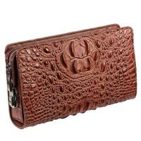 Classic Crocodile Wallets for Men Genuine Leather Clutch Bag Male Long Purse Phone Holder Anti theft Zipper Design Handy Bag