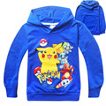 2016 summer POKEMON GO Boys T Shirt Cotton Long-sleeved hoodie Shirt Cartoon  Elf Girl Kids Hooded T-shirts Top Children Clothes