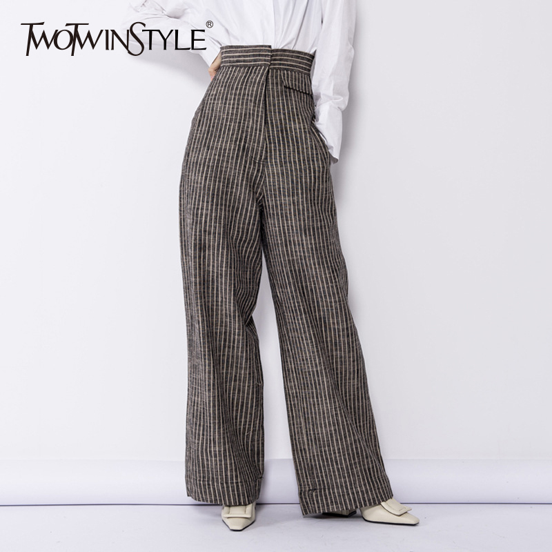 TWOTWINSTYLE Linen   Wide     Leg     Pants   Female Striped High Waist Pocket Long Trousers Vintage Large Size Spring Women 2018 Clothing