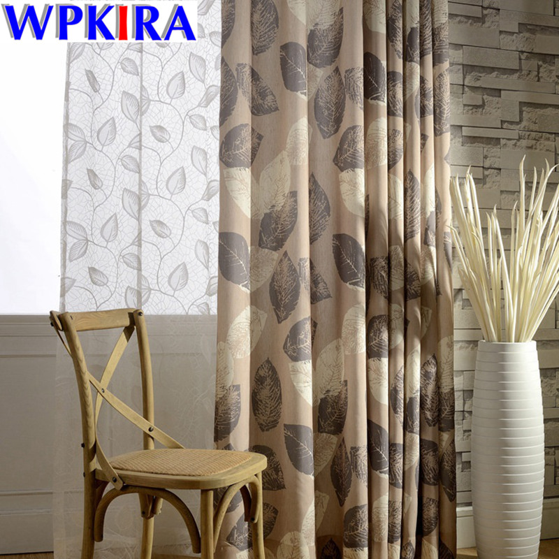 Brown Curtains White Sheer Curtains Leaves Pattern Tulle For