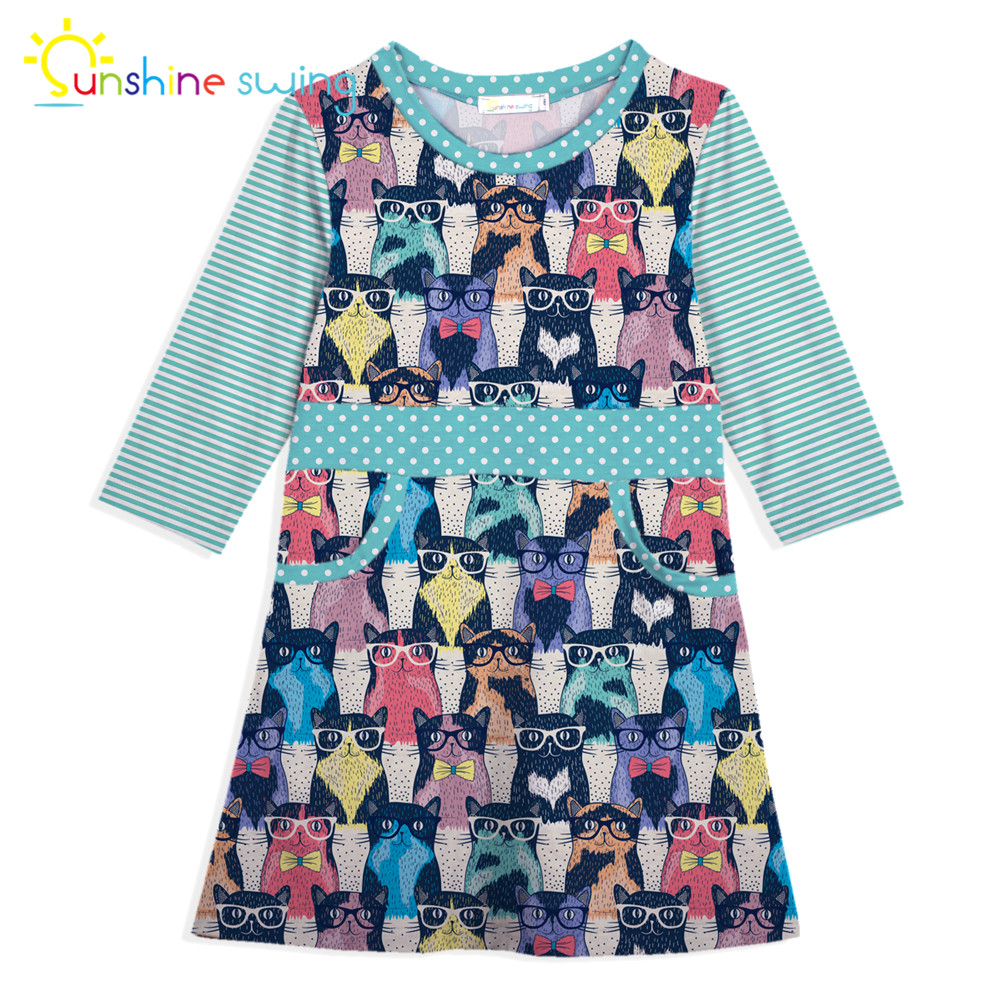купить Sunshine Swing Multi Color Cartoon Animal Digital Print Girl Dress Children Cute Midi Kids Dress for Girls A-line Vestido по цене 844.35 рублей