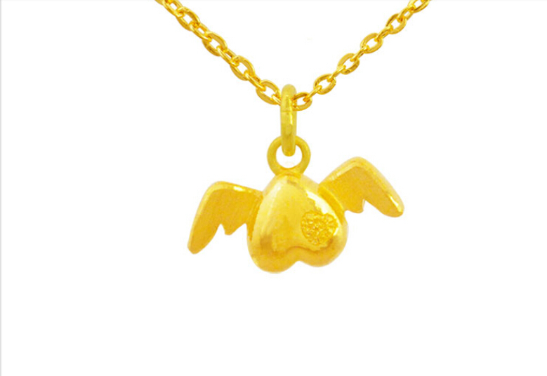 цена на Pure 999 24K Yellow gold Heart Pendant
