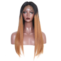 Ombre Color #T1B/30 250% Density Lace Front Human Hair Wigs Brazilian Straight Ombre Colored Lace Front Wigs Remy Ever Beauty