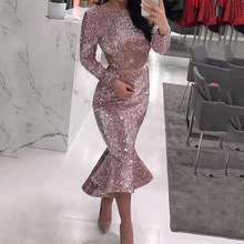 Sparkly Long Sleeve Glitter Dress Women Bodycon Gowns Runway Vintage  Mermaid Party Dress Sexy Midi Dresses Vestdios Muje Summer f2420385a572