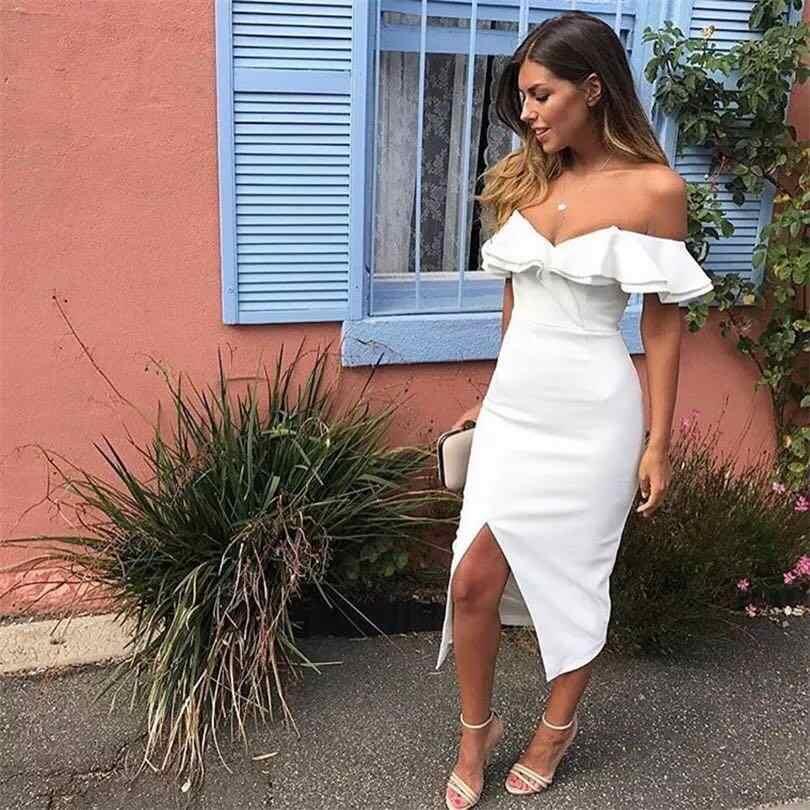37532c5f8d2 ... 2018 Elegant Solid Sexy Brief Summer Dress Yellow White Black Short  Sleeve Off Shoulder Ruffles Split ...