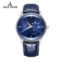 Reef Tiger Designer Casual Watch Men Blue Dial Waterproof Analog Watch Genuine Leather Strap Automatic Watch RGA8219