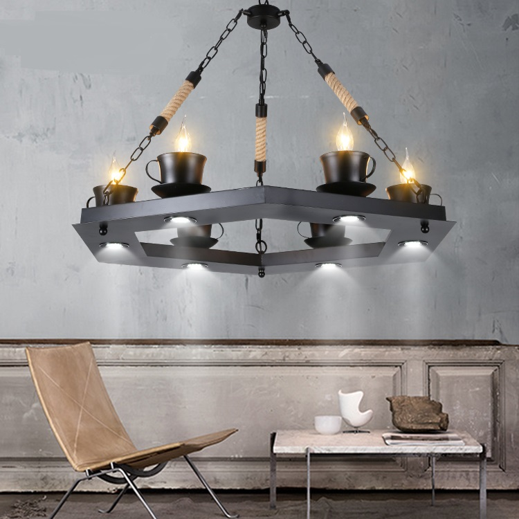 Hemp Pendant Lights American country creative bar cafe clothing store living room restaurant retro cup iron pandant lamps