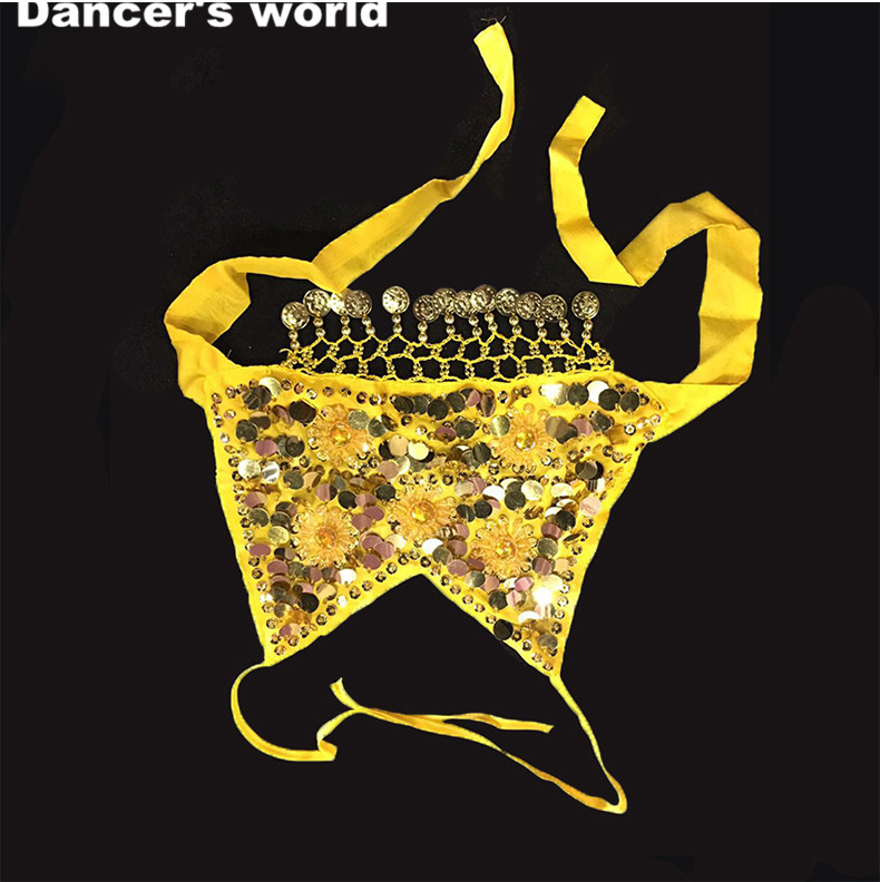 Kids Professional Competition Dance Top Sequins Gold Coins Top Girls Dance Clothes Top/tees