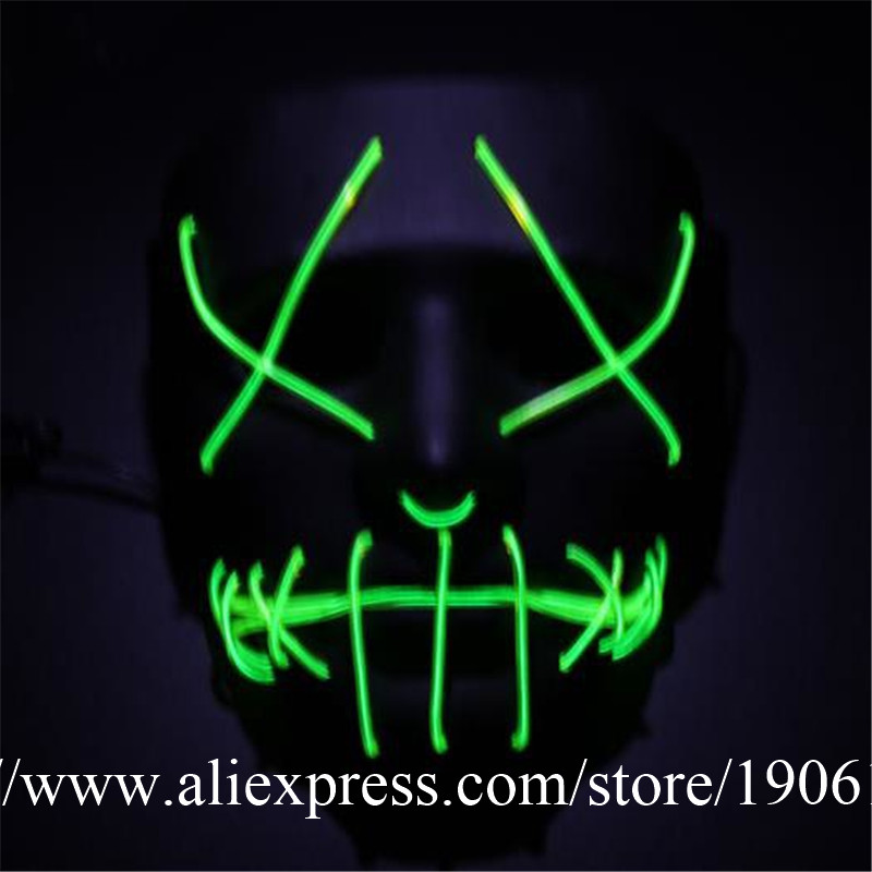 10 Designs Colorful Luminous Halloween Mask EL Wire Flashing Party Mask Light Up Masquerade Mask Death Mask 10pcs/lot