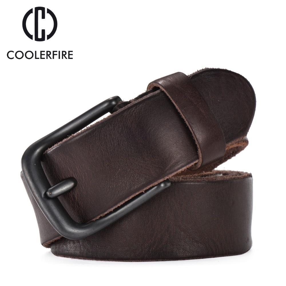 Cinturón de cuero de grano completo resistente hombre casual cinturones vintage hombres genuino bronceado de piel de vaca original correa masculina TM007