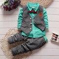 BibiCola nueva primavera del niño de los bebés ropa traje de caballero 3 unids ropa childern niños celosía solapa ropa trajes traje