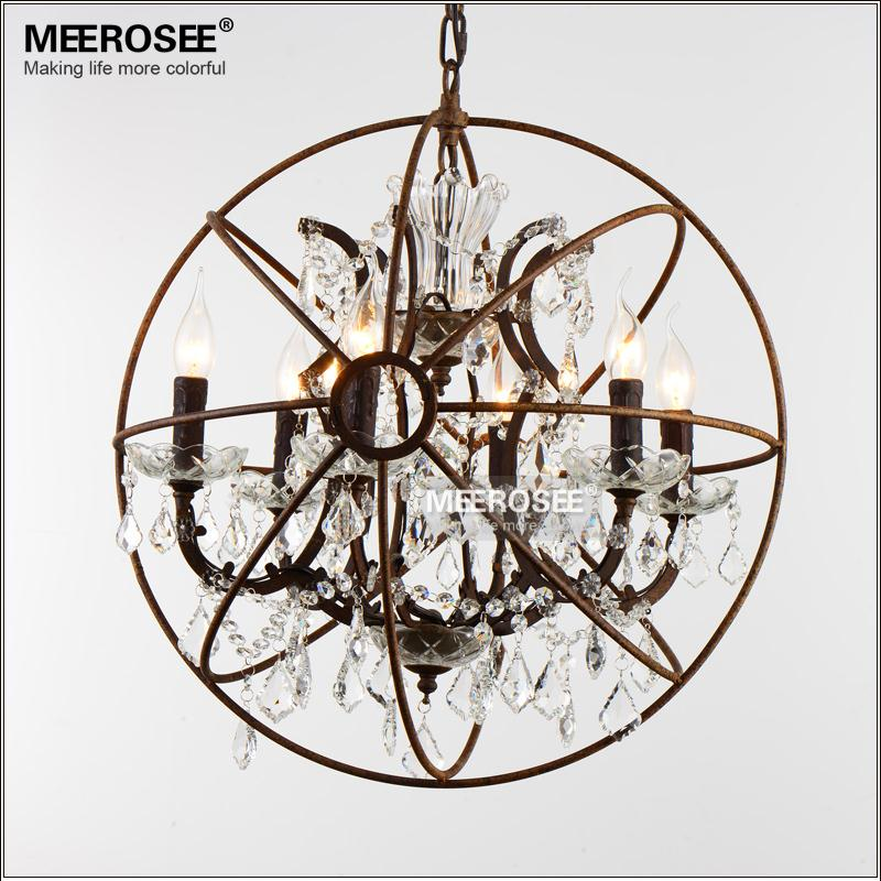 Sphere Shape Crystal Pendant Light Rustic American Style Vintage Pendant Lamp for Dining room, Living room