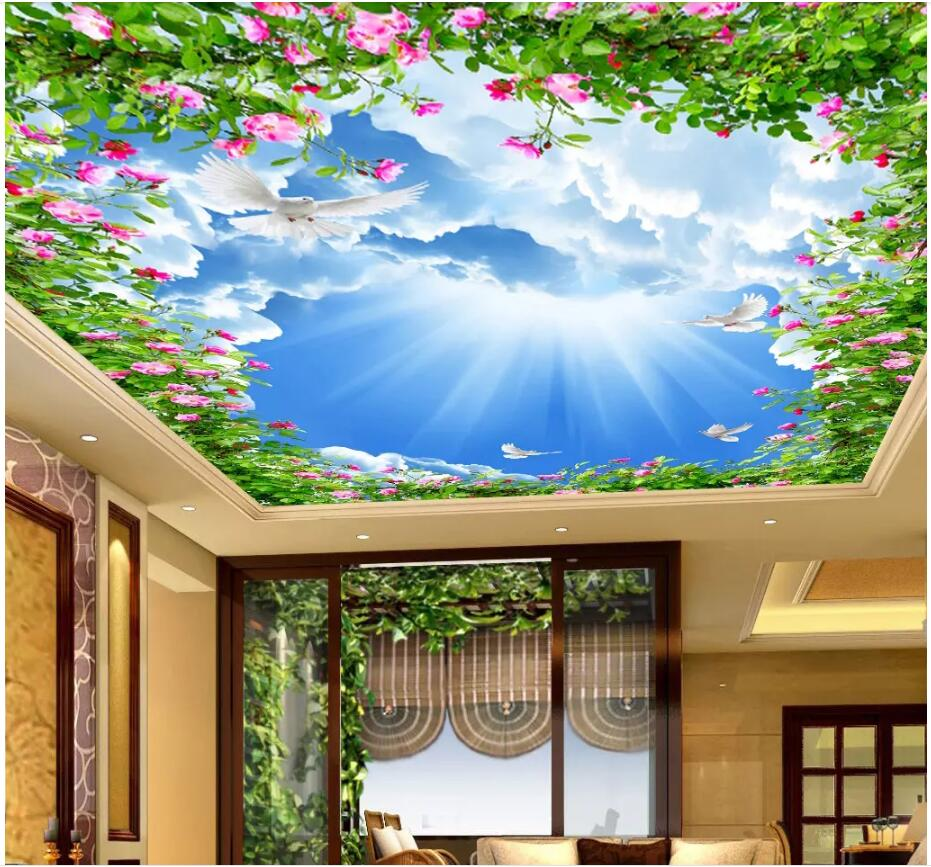 US $15 34 OFF Custom Photo 3d Wallpaper Ceiling Mural Blue Sky And White Clouds Flower Vine Painting 3d Wall Murals Wallpaper For Walls 3 D Photo