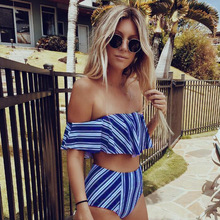 Striped Off Shoulder High Waist Ruffle Bikini – Full Coverage Bottoms