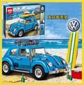 2016 LEPIN 21003 Creador Ciudad Coche Volkswagen Escarabajo modelo Bloques de Construcción de Juguete ladrillos Technic 10252 T1 Coches Clásicos Retro Azul