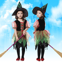Elegant Little Witch From Forest Costume Dress For Child Girl For Halloween Party Carnival Christmas Suit