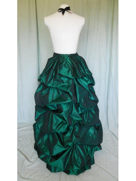 Green Taffeta Victorian Bustle Skirt