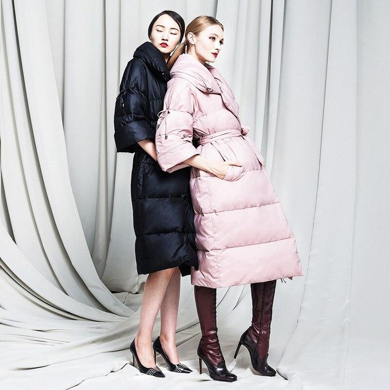 Jojx 여성 겨울 자 켓 2018 새로운 v 목 패션 느슨한 파 카 여성 겨울 코트 따뜻한 두꺼운 긴 3 분기 오버 코트-에서파카부터 여성 의류 의  그룹 1