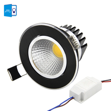 [DBF]Super Bright Recessed Black LED COB Downlight Dimmable 5W 7W 9W 12W LED Spot light LED decoration Ceiling Lamp AC 110V 220V
