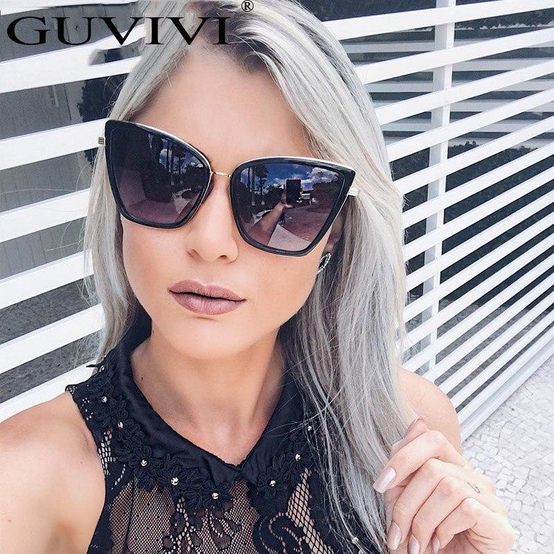 2017 GUVIVI New Fashion Women Sunglasses Cat Mirror Glasses Metal Cat Eye Sunglasses Women Brand Designer Sunglasses women