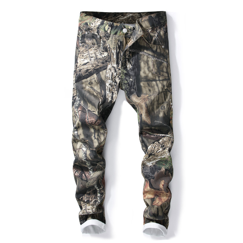 Luxury Landscape Print Man Trousers Fashion Slim Long Denim Trousers F16