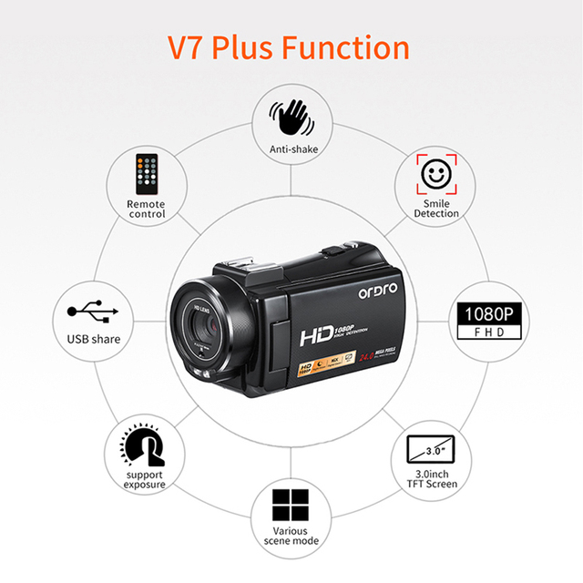HDV-V7 Plus Digital Camera HD 1080P 3.0 inch Screen IR Night Vision Camera Professional Camcorder Remote Control Video Camera